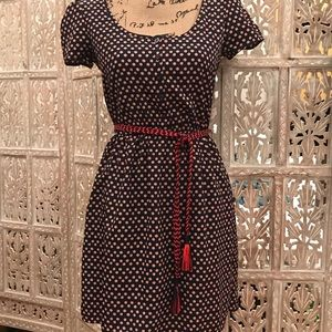 Red white and blue dress with accent belt.